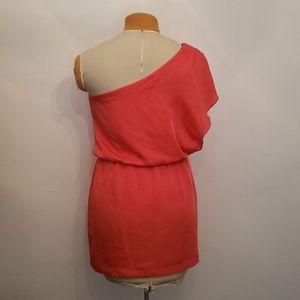 City Triangles Dresses - Coral one shoulder dress